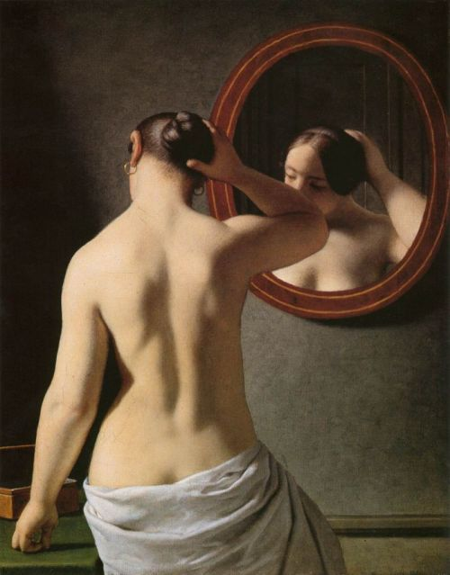 welovepaintings:  Christoffer Wilhelm Eckersberg (1783-1853)Woman Standing In Front Of A MirrorOil on canvas1841Private collection