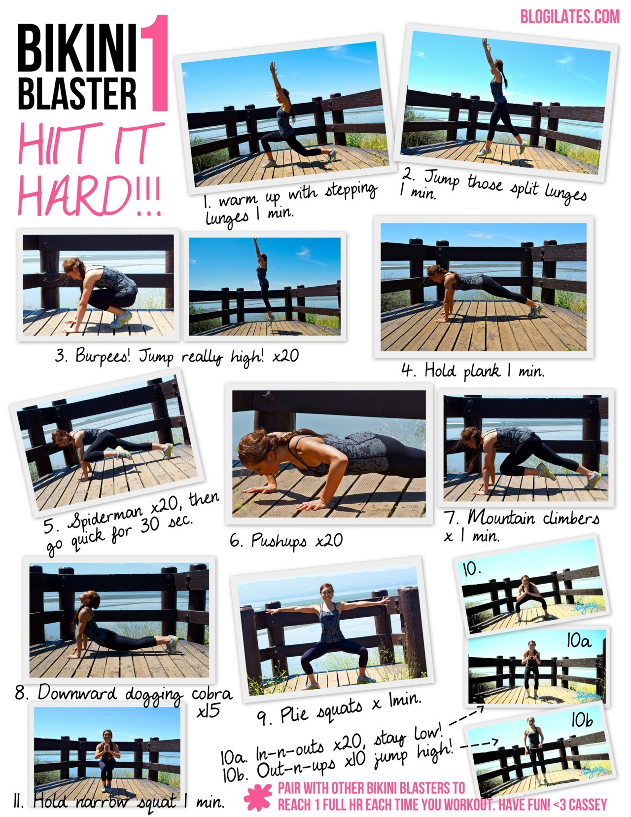 Take me with you to the gym! Bikini Blaster 1: HIIT IT HARD Printable. See video demo here.