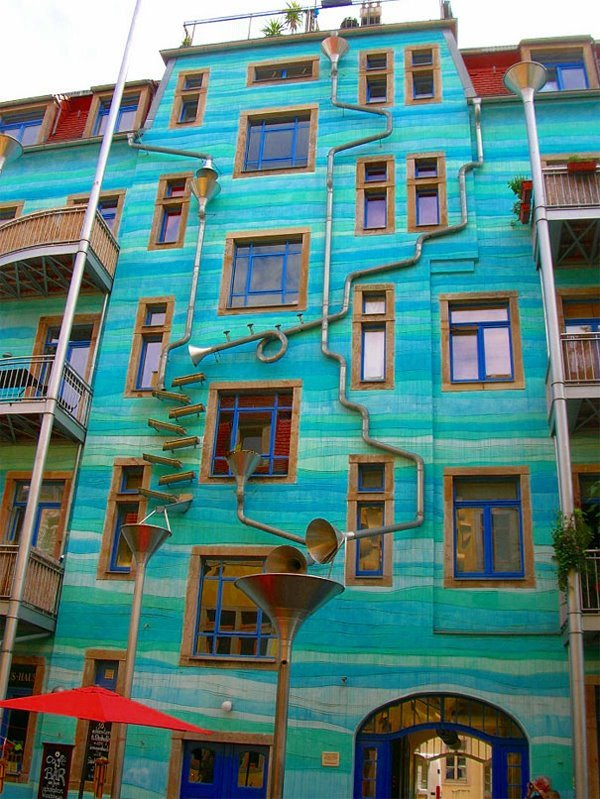 Funnel Wall in Germany. When it rains, the drains make music :)