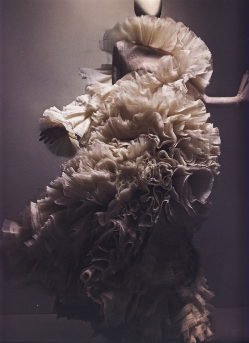 "bohemea:  Alexander McQueen Autumn/Winter 2006-07 Dress, Widows of Culloden Ivory silk organza Photographed by Sølve Sundsbø for Alexander McQueen: Savage Beauty ""I find beauty in melancholy."""