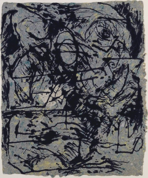 fckyeaharthistory:  Jackson Pollock - Untitled, 1952-56. Dripped ink on Howell paper