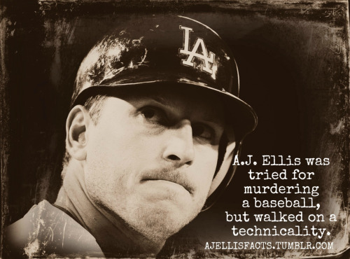 A.J. Ellis was tried for murdering a baseball, but walked on a technicality.