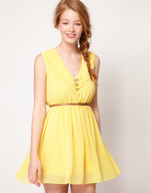 Dahlia Chiffon Belted Skater Dress With Bow ButtonsMore photos & another fashion brands: bit.ly/JgTtM2