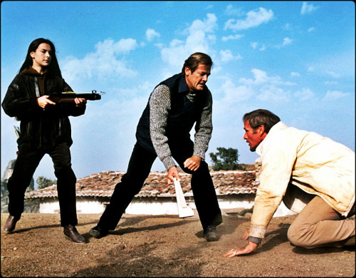 Carole Bouquet, Roger Moore, and Julian Glover in For Your Eyes Only (1981)