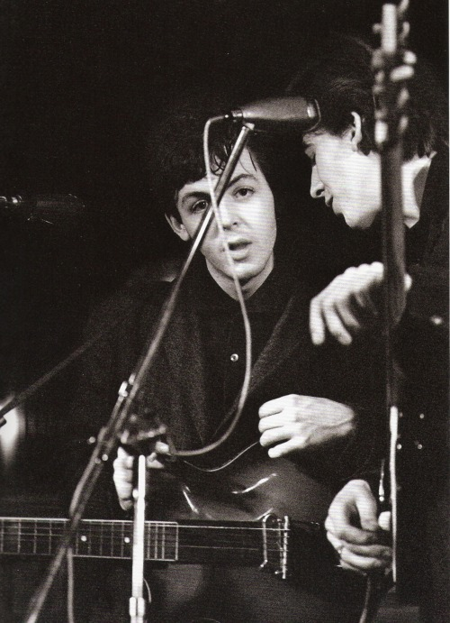 Paul and George at the Top Ten Club, Hamburg, 1961. Photo by Juergen Vollmer.