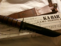 United States Marine Corp Kabar Fighting knife is by far a classy and classic combat knife. . 1095 carbon steel blade and stacked leather washer handle with matching sheath. Not much need to be said about this blade, as it has been issued to and used by marines for years for a reason.