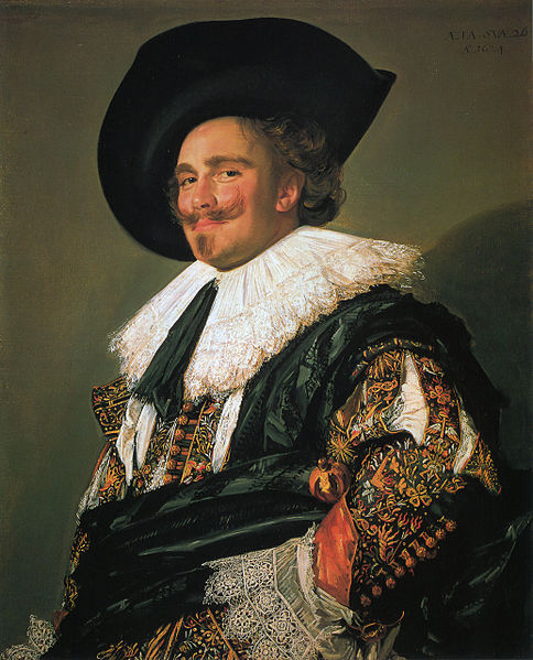 "The Laughing Cavalier (1624) is a famous portrait by the Dutch Golden Age painter Frans Hals in the Wallace Collection in London, which has been described as ""one of the most brilliant of all Baroque portraits"". The title is an invention of the Victorian public and press, dating from its exhibition in the opening display at the Bethnal Green Museum in 1872-75, just after its arrival in England, where it became famous, much reproduced in prints, and for long one of the best known old master paintings, at least in Britain. The unknown subject is in fact not laughing, but can be said to have an enigmatic smile, much amplified by his upturned moustaches."