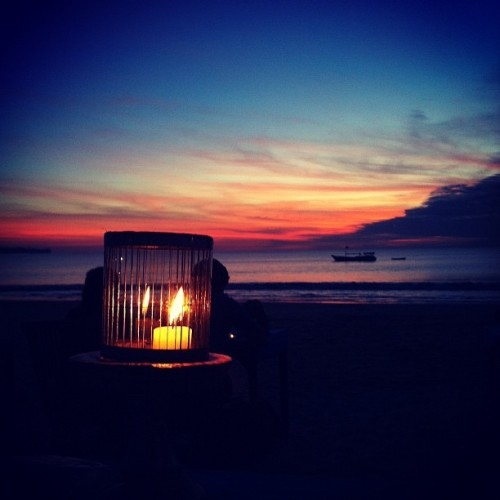 #bali #jimbaran #beach #sunset #seafood #candlelight (Taken with Instagram at Jimbaran Beach)