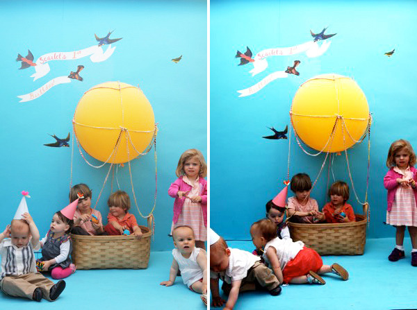 Kids' Hot Air Balloon Photo booth | Oh Happy Day How adorable is this!? And such a good idea - it's hard enough to get kids to sit and get a photo taken let alone when you involve props. This way you can pop your little one in the basket and snap away. I wish I could make one for adults - how cool would that be for a wedding?!