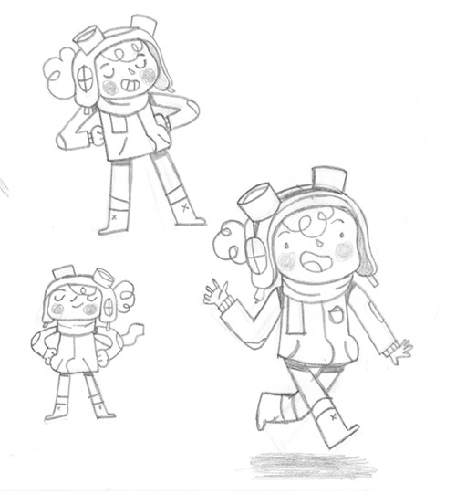 Sketches of Ellie the little pilot, coloured version on my blog.