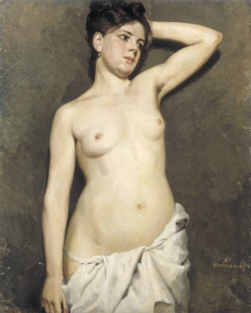 altrus:   Study of Female Model, 1874, Albert Edelfelt.