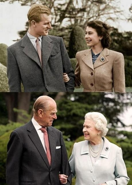 The Queen and Prince Philip : then and now.