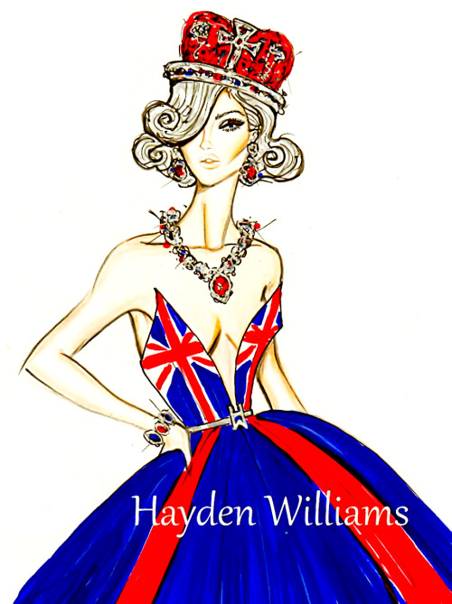 haydenwilliamsillustrations:  The Queen's Diamond Jubilee by Hayden Williams  I would wear this so hard.