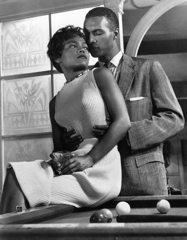 "Eartha Kitt and James Edwards in a scene from 1958's ""Anna Lucasta."" Ms. Kitt was not only the star of the film, she and Sammy Davis, Jr. had financial participation. James Edwards was the handsome, 6'2"" former professional boxer who was supposed to be Hollywood's first true Black heartthrob. According to film historian Donald Bogle, along with promising work in films like ""Home of the Brave"" and ""The Manchurian Candidate"" (he also appeared opposite Dorothy Dandridge in her screen test for Carmen Jones in 1954) Edwards was signed for a short time as a writer at Universal-International studios and wrote several stage plays. Instead of becoming the big star many had hoped he would be, Edwards career suffered because of his temper, heavy drinking and a career-crushing rumor involving an alleged argument with his White girlfriend at a Hollywood party. He was also a very proud man who was not one to ""know his place."" Ossie Davis said of him, ""Jim Edwards was not prepared to compromise or duck - to make that adjustment that would make white folks comfortable. Not at all."" Edwards died at the age of 51 in 1970."
