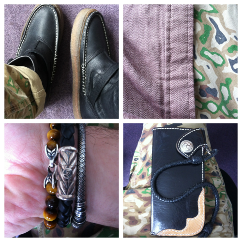 #Ootd clockwise from top left #Vans x taka hayashi boots #obey herringbone woven #publish camo pants #david yurman #bottega veneta bracelets and #holliday leather wallet