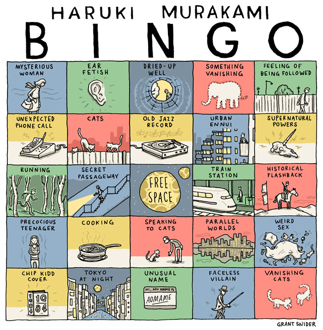 "supersonicelectronic:  ""Haruki Murakami Bingo"" by Grant Snider.  This is an awesome tribute to my favorite writer. I think some of the only things missing are bar omelettes, cold cans of beer, shocking violence, and swimming."