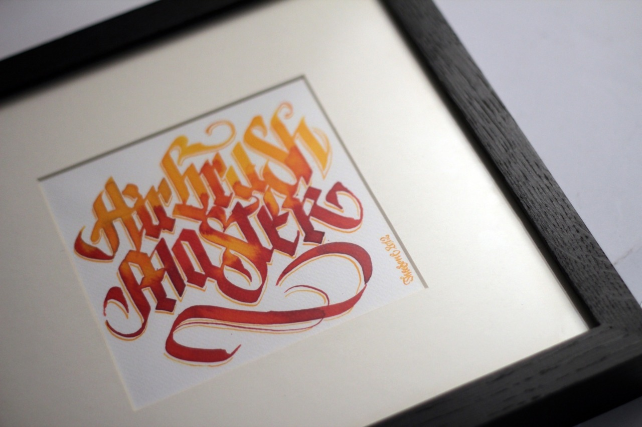 Calligraphi.ca - Airbrush Master - broad edge poster nib and ecoline in watercolor paper - Theosone