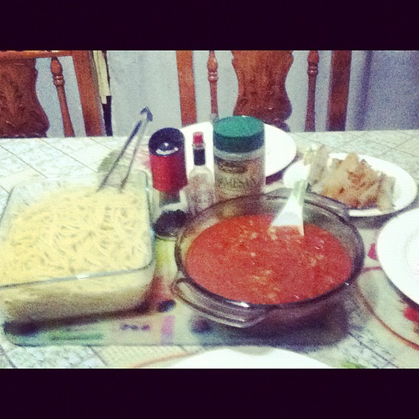 Our dinner on this rainy,Sunday…:) Spaghetti and dynamite chillis.=) (Taken with instagram)