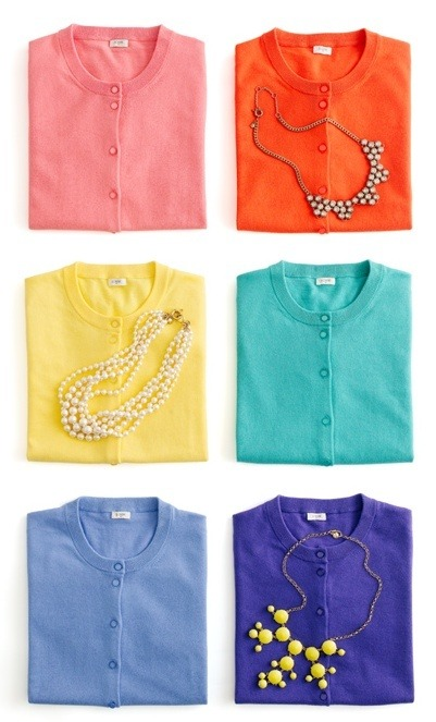 J Crew - Love these bright colours for the summer! And, I am loving the 'statement' necklaces that everyone is wearing right now. These would even look great over a boat neck dress.