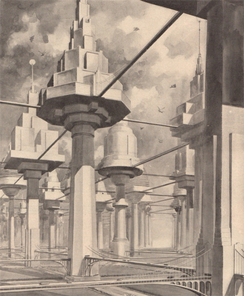 n-architecture:  The city of the future (April, 1934 Popular Science Monthly) Imagining a City of Treelike Buildings