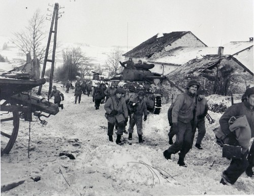 83rd Infantry Division in Bihain, Belgium during the Battle of the Bulge, January 11th, 1945.