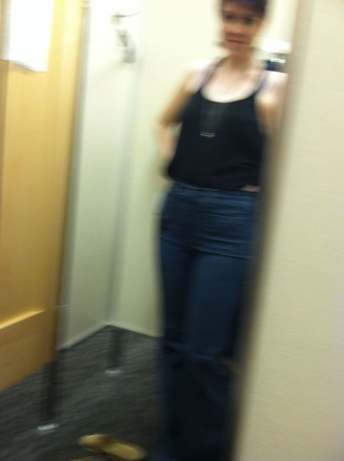 Unknown time (around 6h). Thursday - nordstrom rack fitting room.