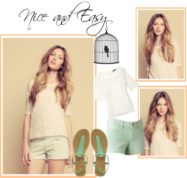 Nice and Easy by cassialuizass featuring a sheer lace blouse