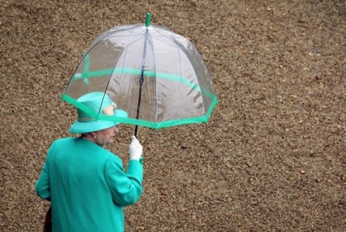 theumbrellacollection:  Did you know that the Queen has custom made umbrellas to match her outfits? Fultons, the royally appointed umbrella company, custom make clear umbrellas with colour trims to match her clothes. The Queen likes clear umbrellas so the public can see her.