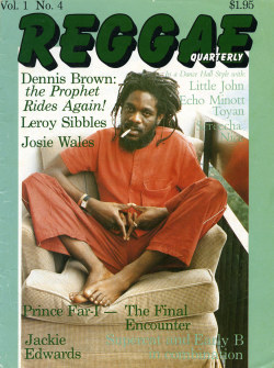 babylonfalling:  Photo of Dennis Brown by Beth Lesser for the cover of Reggae Quarterly #4, the short-lived (8 issues) magazine that she and her husband produced in the 80s, and which, taken together, is really the best documentation of the early days of dancehall music and culture.