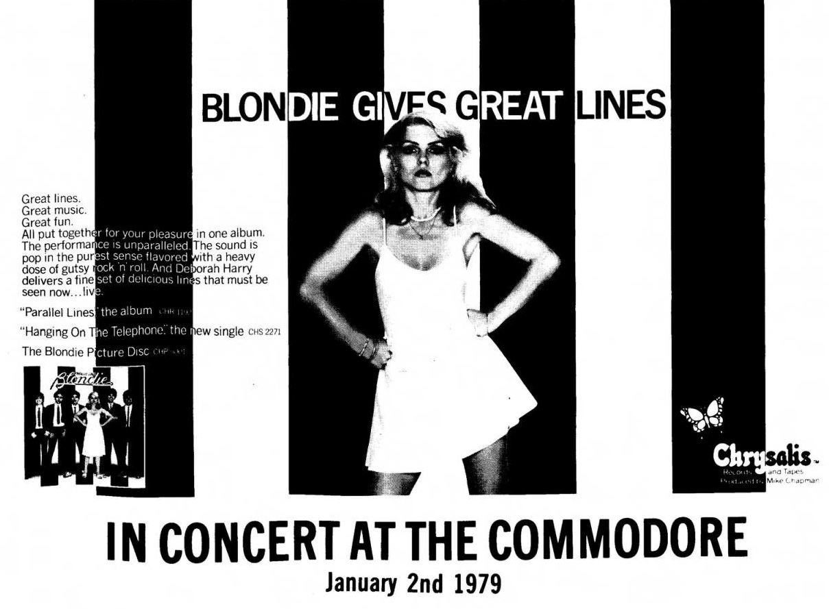 Blondie, Tuesday 2 January 1979 Source: Public Enemy #2, via SFU Vancouver Punk Rock Collection