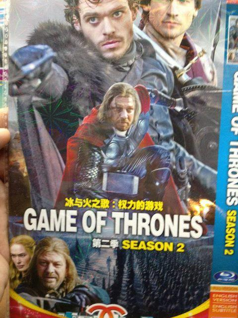 "populationgo:  Chinese ""Game of Thrones"" Blu-Ray Cover Either the people who put this thing together have never seen Game of Thrones, or the Chinese have managed to get an exclusive look at Ned Stark's triumphant return to the series. Either way, this somehow manages to make one of the best shows on television look even more awesome! [Nerd Approved]  FREAKIN' AWESOME."