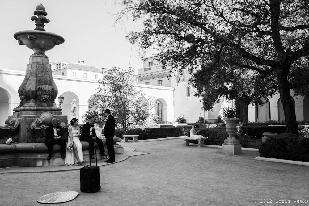Pasadena, Calif.:  June, 2012.   Bored wedding party.     Fuji X-Pro 1.  XF 18mm/F2 R.     Lightroom 4 » Silver Efex Pro 2.