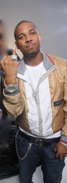 Juelz with his Breitling and Gucci Nylon Jacket