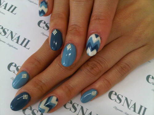 navy tribal nails