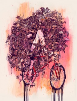mydarkenedeyes:  Flower Face by Pat Perry Ink, acrylic, digital.