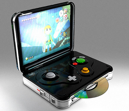 recklessalchemist:  embroidedmelody:  bryainiac:  This is a handheld gamecube.    JESISSISSIIIIEEEE