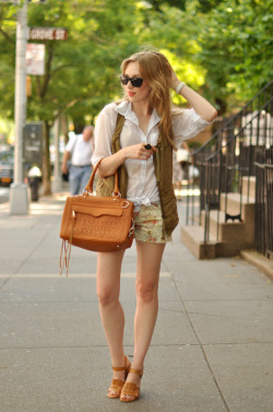 what-do-i-wear:  top + vest: h&m / shorts: paige denim / watch: c/o Timex / shoes: c/o pour la victoire (also love these) ring: c/o sorrelli / bag + shades: c/o rebecca minkoff (image: eatsleepwear)