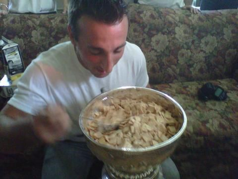 Brad Marchand enjoying the most important meal of the day.