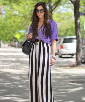 when looking at striped pants, always go with a vertical rather than horizontal stripe. the vertical will always be much more flattering.