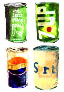 soda pop cans. markers/watercolors/multimedia. brendan garbee