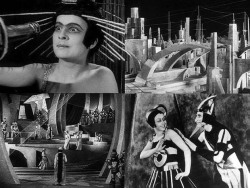 "Aelita (1924) was not the first science fiction movie set in space (that honor generally goes to Le voyage dans la lune [A Trip to the Moon] made in 1902). But it was probably one of the most influential early films in the genre. Aelita was based on a novel of the same name published a year earlier written by Russian novelist Aleksey Tolstoy. The movie was a sensation in Soviet Russia, and one of the first true ""blockbusters"" in the history of cinema. The man behind the movie was Yakov Protazanov, who had gained a modicum of fame already in pre-Revolutionary times, but whose Aelita elevated him to iconic status in the world of newly emerging Soviet cinema. Much like modern Hollywood movies, weeks of intense advertising preceded the release of the movie; airplanes dropped thousands of leaflets announcing the opening over several cities. Tickets for the premiere were sold out, and the size of crowd on opening night was so overwhelming that Protazanov himself was unable to attend. Protazanov completely reimagined Tol'stoy's original novel, which was about a Soviet soldier who travels to Mars and incites a proletarian revolution among the bourgeois Martians. In the book, Aelita, the queen of Mars, falls in love with the soldier, and shenanigans ensue. In Protazanov's hands, the story becomes much more sophisticated. The protagonist, Los, is a soldier whose background is bourgeois and is married to sweet Natasha. He receives a radio message from Mars and becomes distracted from his marriage. Turns out that on Mars, Queen Aelita rules over a brutal state that exploits its workers. But the Queen herself becomes obsessed with Los who she can see through a telescope. She begins to reject the exploitation endemic in her state. Soon, Los and a fellow proletariat go to Mars on a rocket and help the Queen dismantle the totalitarian state, but it turns out that the Queen was simply making a grab or power; she had never intended to end exploitation. The revolution fails. In the end, Los wakes up and realizes it was all a dream. In the movie, the revolution in Mars is riddled with ambiguities that don't demarcate along binary poles such as capitalist vs. communist or bourgeois vs. proletarian. Even the outcome is ambiguous. Some have argued that such an approach was Protazanov's commentary about the complexities of the New Economic Policy (NEP) initiated by Lenin in the early 1920s when there was a mixed economy (with limited private enterprise). Enabled by looser censorship restrictions, this was a time of rich and experimental artistic expression in film, literature, art, and pretty much everything under the Sun. Soviet society was complicated and driven by conflicting impulses. Unsurprisingly, Protazanov's ambiguous take on socialism rankled Soviet officials who wanted the soldier to overthrow the bourgeoisie and create a new proletarian culture on Mars. As late as 1928, Soviet newspapers were still complaining of the ""petty bourgeois ending"" of the movie where Los returns to the domesticities of marriage, and not the task at hand: socialist revolution. Aelita was important for many reasons, but often forgotten is how much it influenced real people to do real things. It influenced a generation of Soviet space enthusiasts, many of whom later went on to create the actual rockets and spaceships that opened the Space Age in the 1950s and 1960s. One of the major Soviet projects in the 1960s to send humans to Mars (never finished, unfortunately) was affectionately named ""Aelita"" by its designer, Vladimir Chelomey, who remembered watching the movie as a kid. The picture above is a composite of four different scenes. On the top left, we see Queen Aelita (played by Yuliya Solntseva). The two shots of sets evoke the sets of Fritz Lang's more famous Metropolis, which Aelita influenced. For the complete movie, go here. For more on the culture of space enthusiasm in the 1920s, a good place to start is here or here."