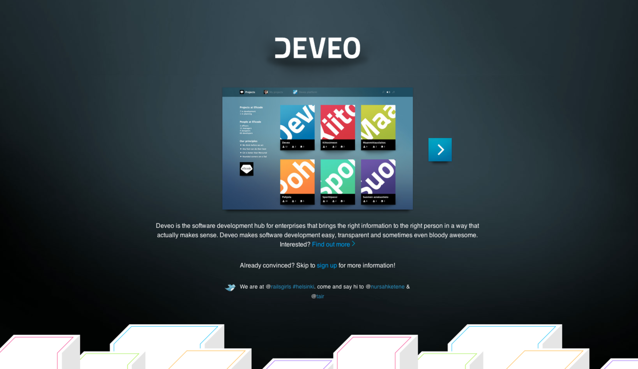 betalist:  Deveo brings centralized version control to your entire organization and integrates to your other tools to make them more useful. It helps you tackle disturbances that slow down the development process, and lets you focus on what really matters: creating awesome software. Deveo eliminates the need to ad-hoc version control installation and makes sure your code is safe and sound. Sign up here  Beta testing