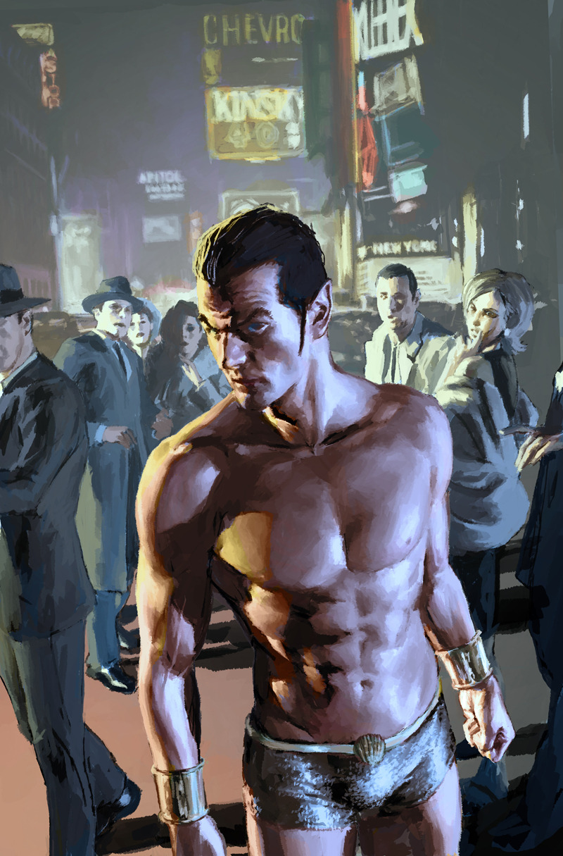 unlicensedsuperhero:  thegeekcritique:  comicknockouts:  Namor by Gerald Parel  Shawn writes: Back when people couldn't show their navels, this was a big deal! That and because he's sporting his junk.  Fish out of water.