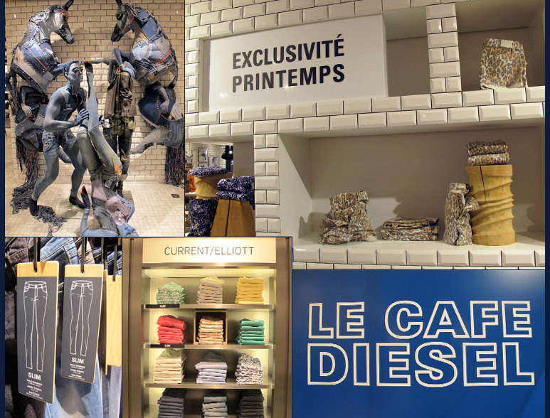 Heading to Paris any time soon? Make a stop at the famed department store Printemps and check out the new denim bar. Featuring Acne, Rag & Bone, Notify, Current/Elliott and J Brand among others. Grab a croissant and espresso at the Diesel cafe` or just browse the great selection of denim in a sleek new space. Nothing like jeans Parisian style! -RS (Image via Stylesight)