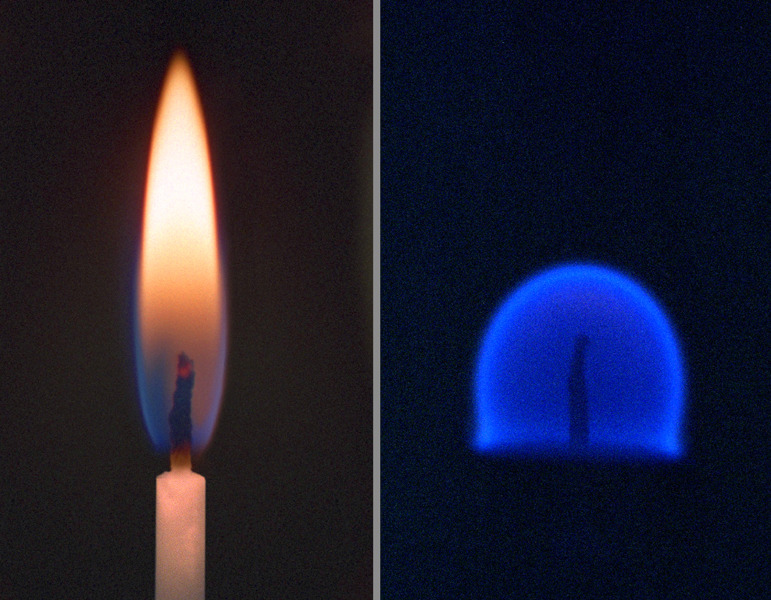 Fire (zero gravity): The image here is an example of how a lit candle behaves in micro-gravity. The pointy flames we're all familiar too is the product of gravity forcing it into a pillar. Where gravity is zero, energy behaves in the way it would without forces acting on it: by radiating in all directions.