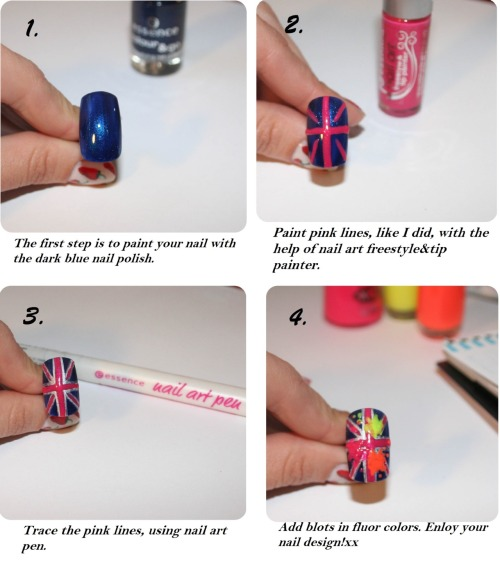 "Tutorial for ""Splash of neon over London"" nail design part 2 I totally forgot that i still didn't post the second part of tutorial for ""Splash of neon over London"" ! I guess that I remembered about it just in time on jubilee :) xx"
