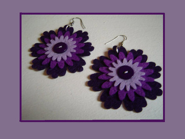 https://www.etsy.com/listing/95092076/purple-felt-earrings-purple-flowers 40% off all jewellery in my shop - just type code DIAMONDJUBILEE40
