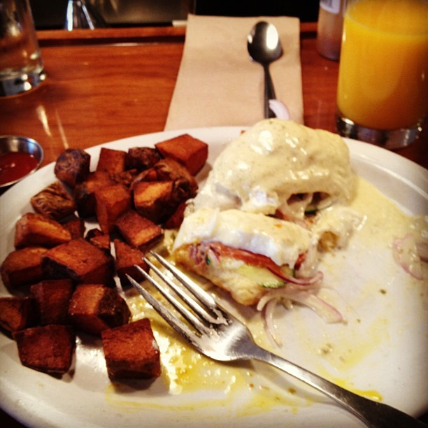 Got the last lox Benedict in the house! (Taken with Instagram at Slappy Cakes)