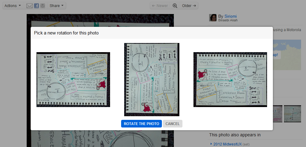 Nice detail on Flickr. When you want to rotate an image, rather than giving random numbers that I can never remember the direction (90, 180, 240 degrees), they show the end result of the rotation. You look at what you want the end result to be, click it, and voila! Happy Binaebi.