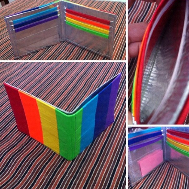 Rainbow Duct Tape Wallet w/ ID and Coin slot! #ducttape #wallet  (Taken with instagram)